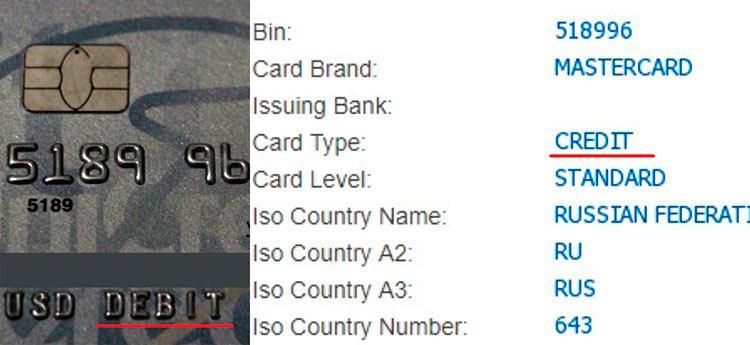 Дебетовая карта с БИНом Credit